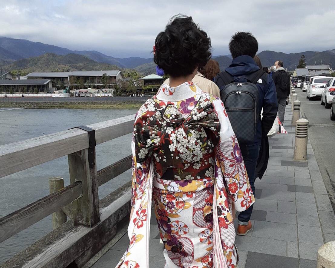 桜と共に十三詣り!